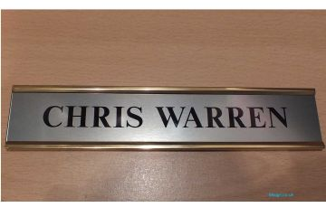 Door NamePlate made to order | Brushed Stainless steel effect with Gold Aluminium Holder